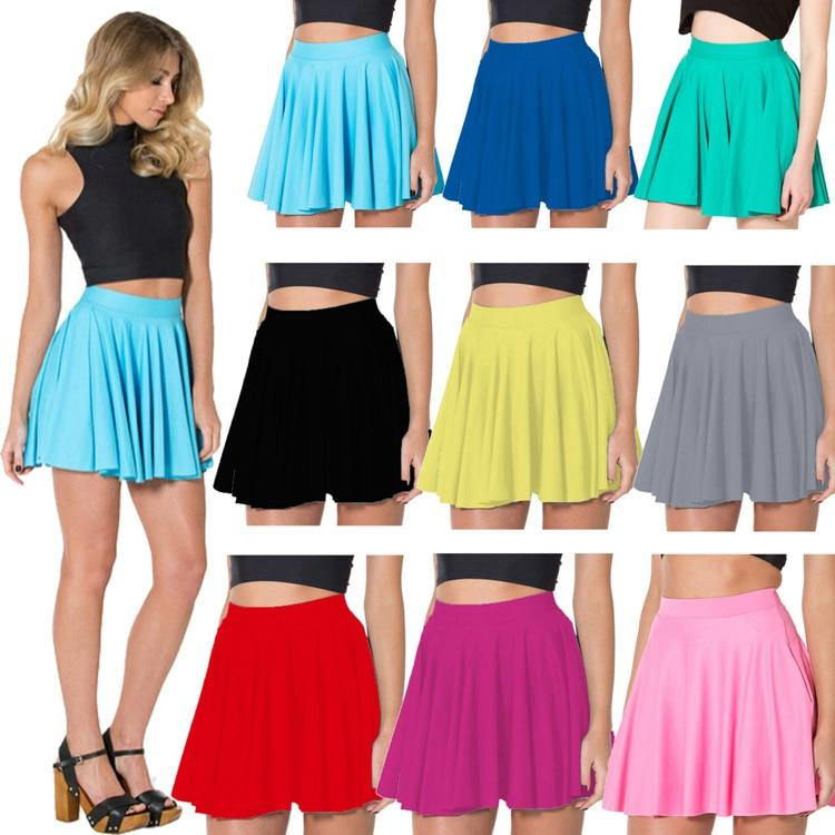 9 Colors Solid Women Summer Black Skirts Above knee Red Blue Silvermodkily-modkily