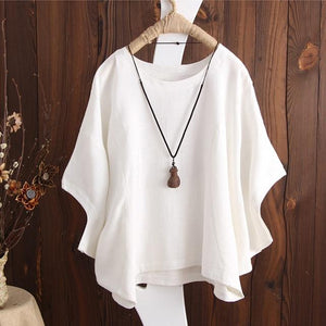 2018 Summer Casual Solid Cotton Linen Baggy Party Tee-Shirts Women Omodkily-modkily