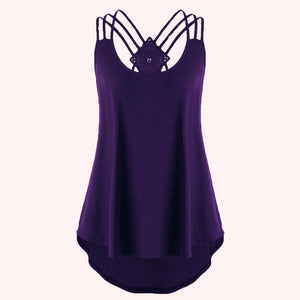 2018 Ladies' Bandages Sleeveless Vest Top High Low Tank Top Notesmodkily-modkily