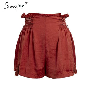 Simplee Ruffle loose elastic high waist shorts Tassel lace up wide legmodkily-modkily