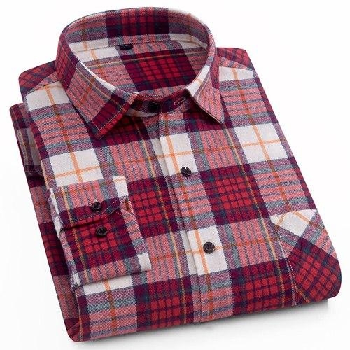Men's 100% Cotton Casual Plaid Shirts Pocket Long Sleeve Slim Fit Comfortablemodkily-modkily