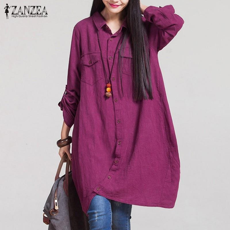 Women 2018 Autumn Vintage Lapel Cotton Long Shirts Casual Loose Fullmodkily-modkily