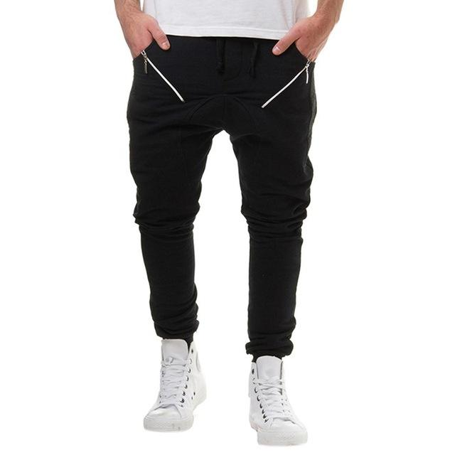 Men's Full Pants Fashionable Elastic Waistband Solid Casual Pants Zipper Bigmodkily-modkily