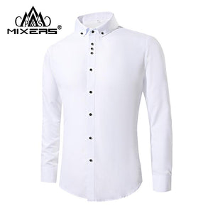 2018 New Fashion White Dress Shirts Men Long Sleeve Casual White Formalmodkily-modkily