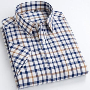 Men's Standard-Fit Short Sleeve Plaid Checked Dress Shirts Patch Chest Pocket Summermodkily-modkily