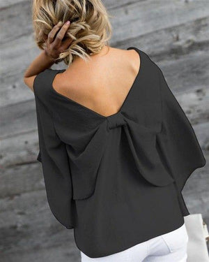 2018 Summer Blouse Women Loose V Back Bow Tie Shirts Women Casualmodkily-modkily