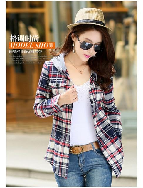 M-XXL 2018 Ladies Blouses Summer Two Pockets Casual Cotton Hoodies Plaidmodkily-modkily