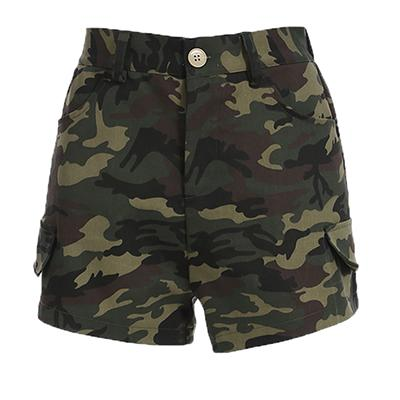 Fashion Army Green Camouflage Shorts Women 2018 Summer Casual Elastic Highmodkily-modkily