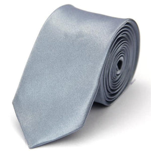 Mans Accessories Skinny Tie for Men Jacquard Woven Fashion Solid Silver Graymodkily-modkily