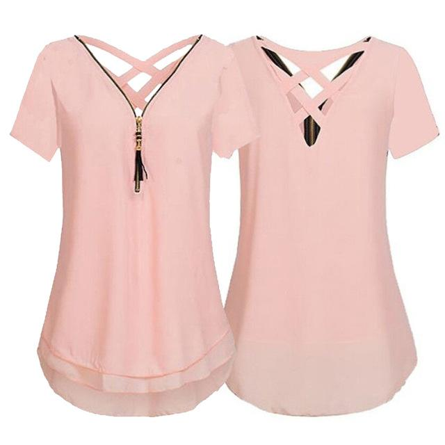 Sexy Chiffon Shirt For Women 2018 Summer Plus Size 5XL Tassel Zippermodkily-modkily