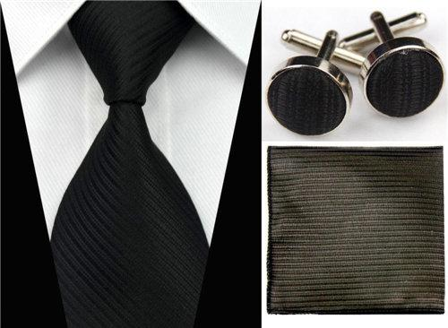 Hot Men's Neck Ties Sets Male's Wedding Accessories Hanky Handkerchief Cufflinks Redmodkily-modkily