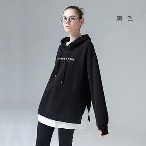 Harajuku Hoody Sweatshirts Women 2018 Fashion Patchwork Letters Embroidery Hooded Tracksuitsmodkily-modkily