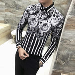 High Quality Men Shirt Fashion 2018 Autumn New Luxury Flower Print Shirtsmodkily-modkily