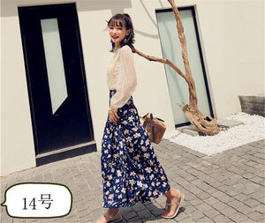15 color Tassel floral print long skirt women beach maxi thin skirtmodkily-modkily