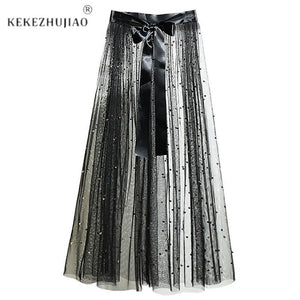 One Layer Tulle Mesh Skirts Long See Through Overlay Beads Skirt Bowmodkily-modkily