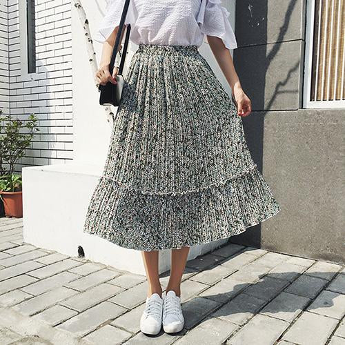 Womens Elastic Waist Midi Chiffon Skirts Summer New Fashion Floral Print Pleatedmodkily-modkily