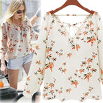 #5505 Women Summer Casual Flying Pigeon Pattern V-Neckline Long Sleeve Tether Blousemodkily-modkily