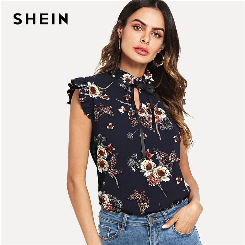 SHEIN Navy Weekend Casual Pearl Embellished Frill Trim Floral Tie Neck Standmodkily-modkily
