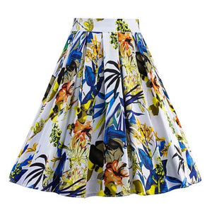 Women's Vintage Floral Print Swing A Line Skirt Multicolor Casual Party Cottonmodkily-modkily