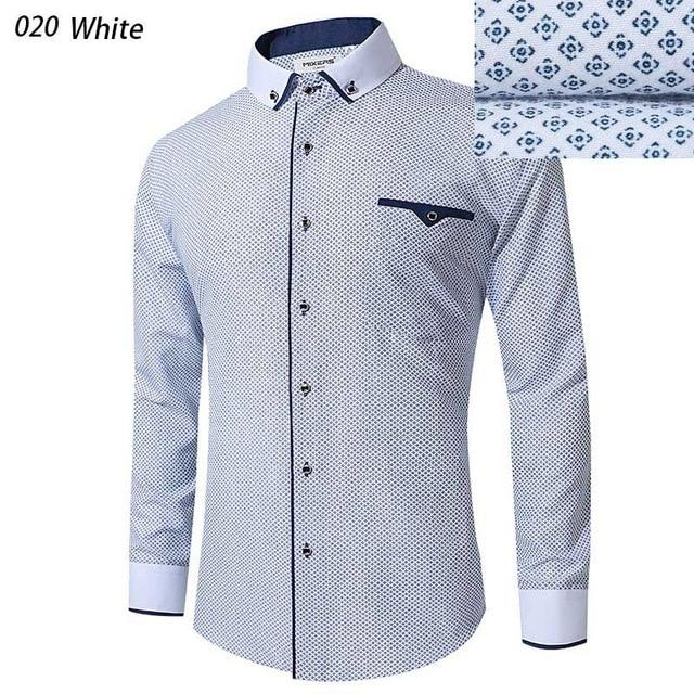 2018 Brand Blue Printed Dress Shirt Men Long Sleeve Big Size Combedmodkily-modkily