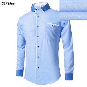 Brand 2018 New Blue Dress Shirt Men Long Sleeve Blue Casual Shirtmodkily-modkily