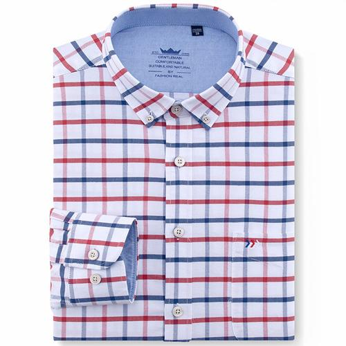 Men's Oxford Cotton Regular Fit Casual Button-down Shirts Long Sleeve Solid/Plaid/Striped Leisuremodkily-modkily
