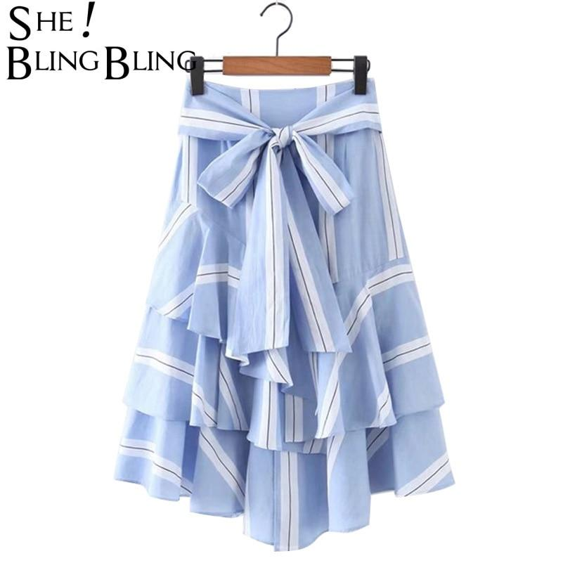 Summer Blue White Stripe Bow Skirt Woman Ruffles Pleated High Waist Bowmodkily-modkily