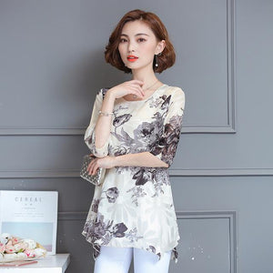 Women Blouses And Shirts 2018 casual half Sleeve fashion floral print Chiffonmodkily-modkily