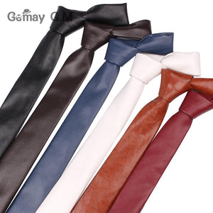 New PU Leather Ties For Men Casual PU Neckties Fashion Solid Mensmodkily-modkily