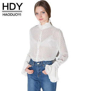 HDY Autumn 2018 Womens Summer Sexy Lace Hollow Out Sheer Flaremodkily-modkily