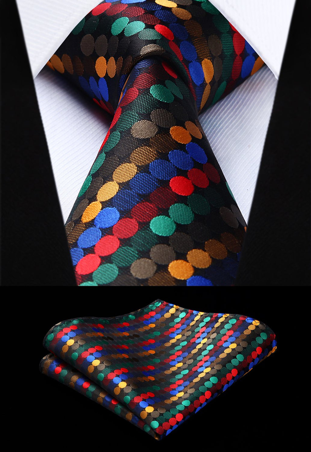Woven Men Colorful Tie Red Polka Dot Necktie Handkerchief Set#TD803M18S Party Weddingmodkily-modkily