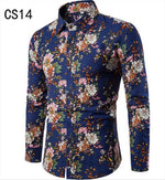 Fashion Spring Autumn Casual Men Shirt Slim Fit Flower Print Linen Shirtmodkily-modkily