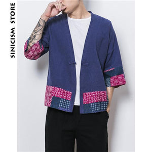 Sinicism Store Mens Jacket Coat Summer Thin Kimono Cardigan Coat Japan Vintagemodkily-modkily