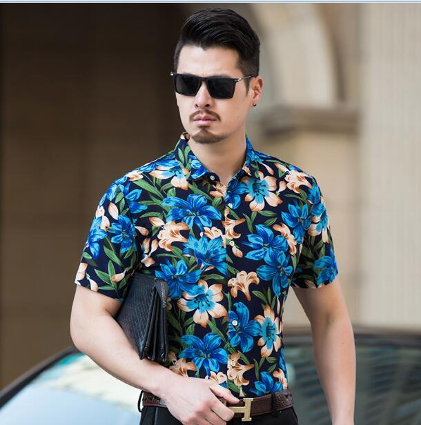 Summer new fashion mens floral printed dress shirt male casual flowers clothesmodkily-modkily