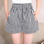 Summer Woman Fashion Loose Vertical Striped Shorts High Waist Casual Beachmodkily-modkily