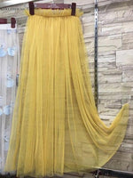 Mesh Skirt 2018 New Summer Overlay Pleated Long One Layer Maxi Womenmodkily-modkily