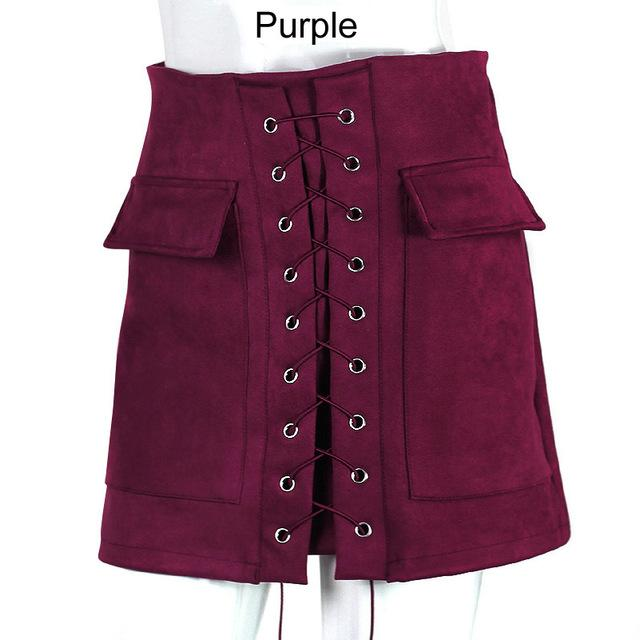 16 Colors Autumn Lace Up Women Pencil Skirt Pocket Short Skirtsmodkily-modkily