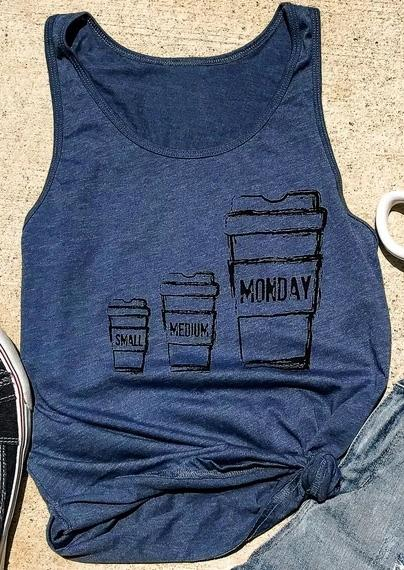 New Women Tank Top Monday Coffee Cup Print O-Neck Tank 2018 Femalemodkily-modkily