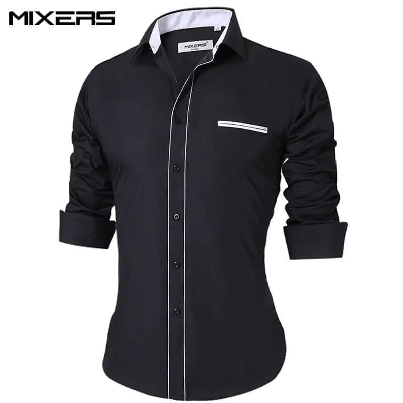 2018 High Quality Men's Casual Shirt Cotton Black Shirt Men Long Sleevemodkily-modkily
