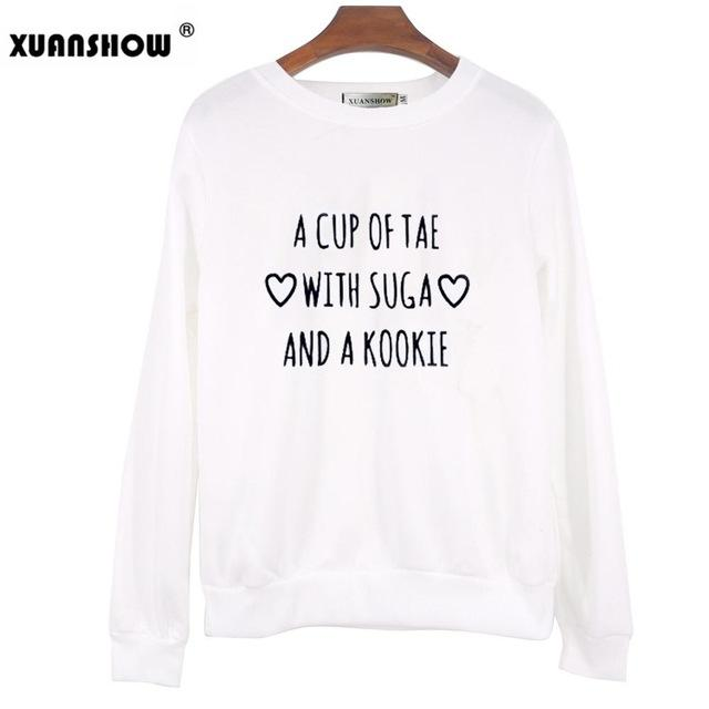Fashion Sweatshirts 2018 Autumn Long Sleeve BTS A Cup Of Taemodkily-modkily