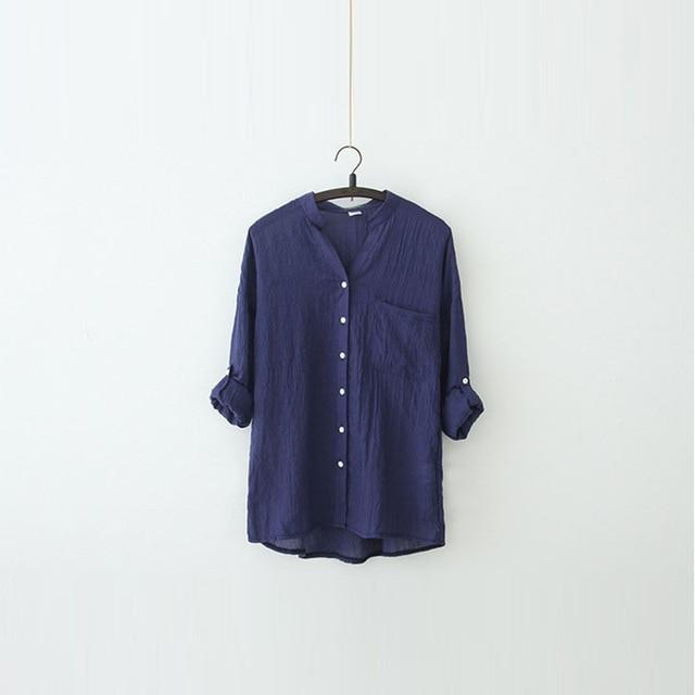 DERUILADY Harajuku Loose Cotton Linen Blouse Spring Summer Three Quarter Sleeves Shirtmodkily-modkily