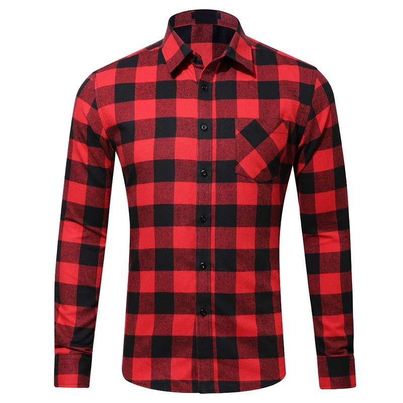 2018 New Mens Plaid Cotton Shirt Slim Soft Comfortable Autumn Malemodkily-modkily