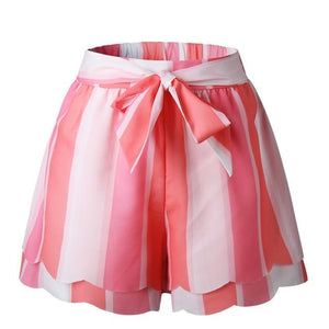 Beach Petal Striped Casual Women Shorts Sash Fashion Streetwear Printed High Waistmodkily-modkily