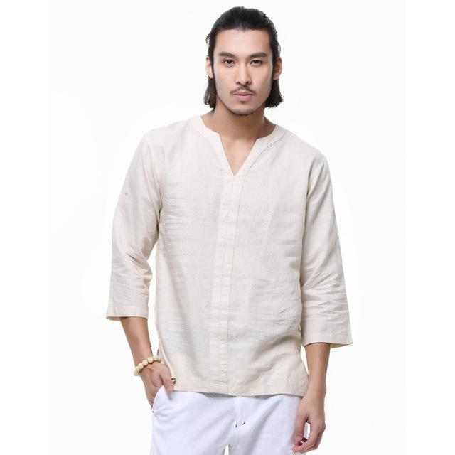 Spring 2018 linen shirt men casual cotton Breathable white soft three quartermodkily-modkily