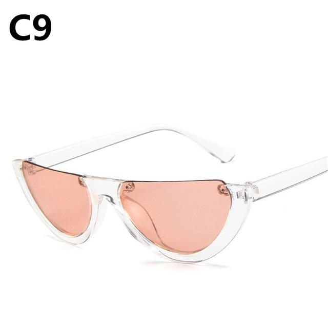 Cool Trendy Half Frame Rimless CatEye Sunglasses Women 2018 Fashion Clear Brandmodkily-modkily