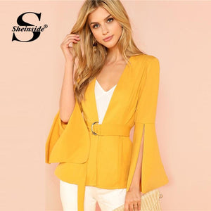 Yellow Split Sleeve Belted Office Ladies Workwear Elegant Outerwear Women Plainmodkily-modkily