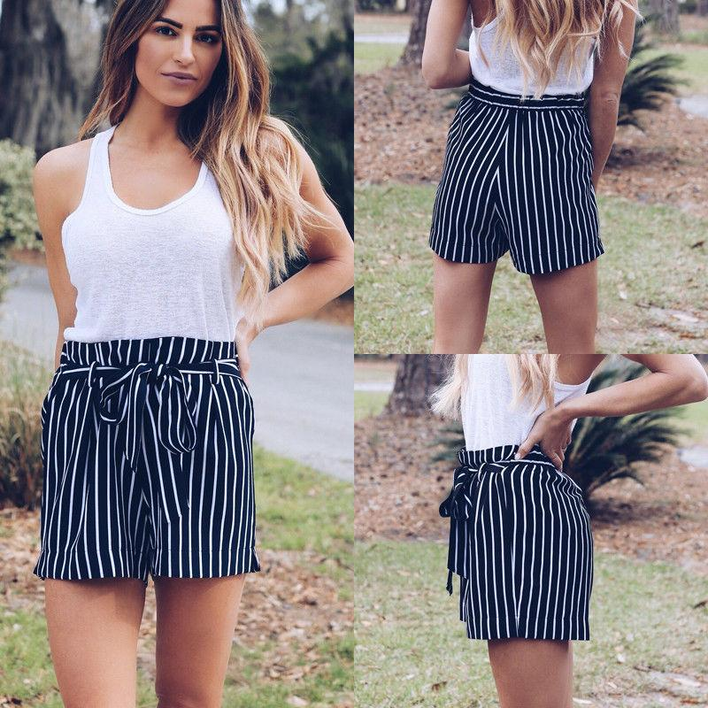 New Causal Shorts Striped Womens Holiday Belted High Waist Ladies Summer Beachmodkily-modkily