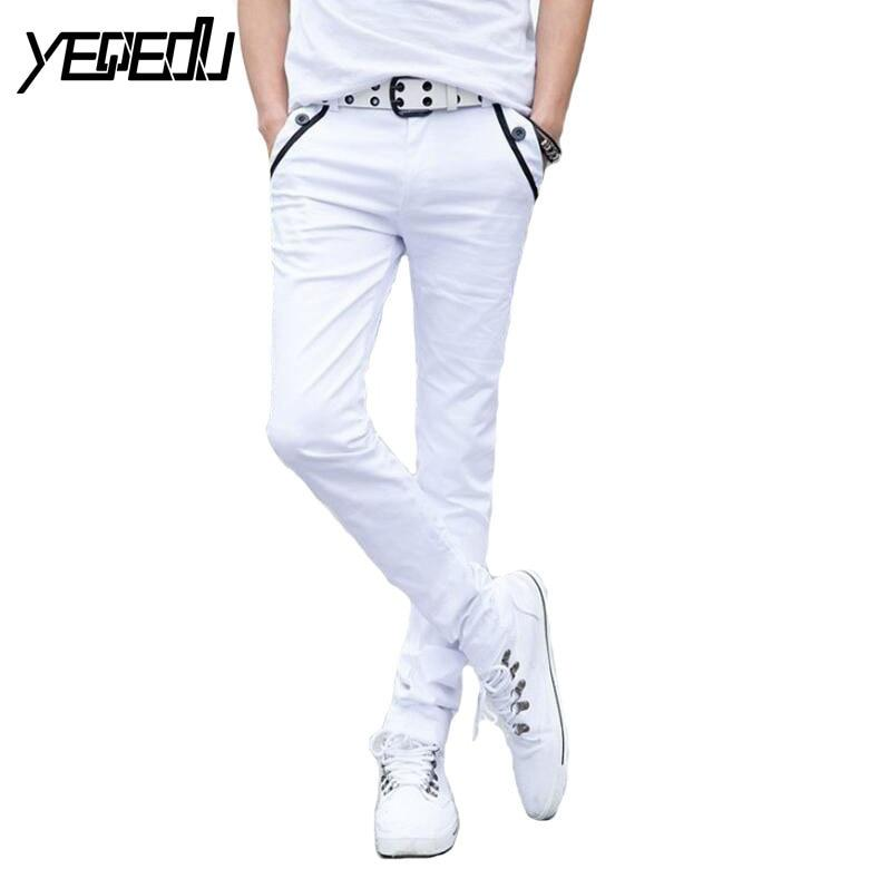 #2801 2018 Black/White Pencil Pants Men Casual Fashion Slim Skinny Trousers Summermodkily-modkily