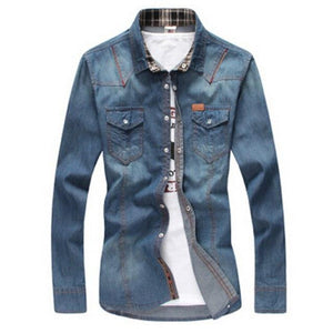 2017 fashion men's Male big yards leisure denim shirts /brand high qualitymodkily-modkily