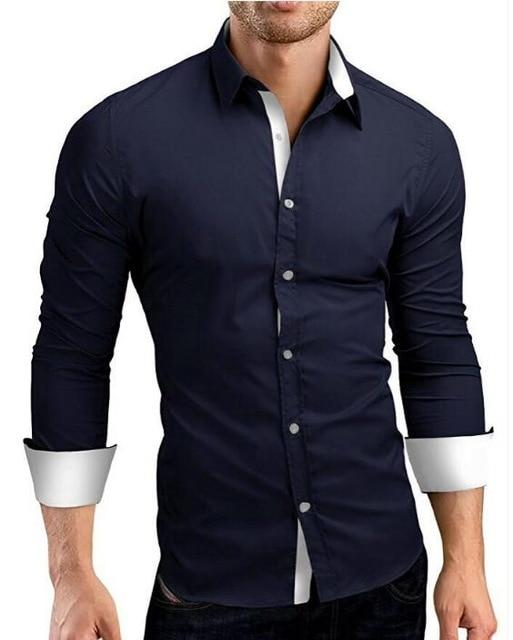 Men Shirt 2018 New Brand Men Solid Color Threshold Dress Shirt Longmodkily-modkily